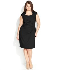 Calvin Klein Plus Size Cap Sleeve Cutout Neckline Sheath Black