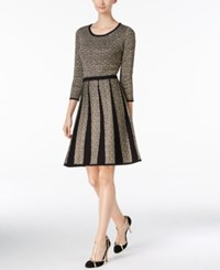 Nine West Metallic Fit And Flare Sweater Dress Gold Black
