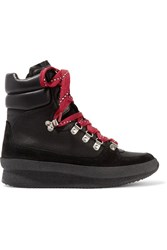 Isabel Marant Brendty Leather Trimmed Suede And Canvas High Top Sneakers Black
