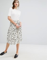 People Tree Organic Cotton Midi Skirt With Frill In Dalmatian Print White