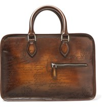 Berluti Un Jour Mini Scritto Polished Leather Briefcase Tan