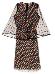 Marco De Vincenzo Polka Dot Embroidered Tulle Cape Dress