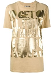 House Of Holland Slogan Print T Shirt Nude And Neutrals