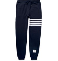 Thom Browne Tapered Striped Loopback Cotton Jersey Sweatpants Navy