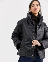 Muubaa Leather Padded Jacket With Funnel Neck Black