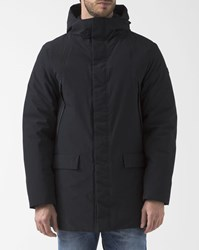 Armani Jeans Black Down Parka With Patch Pockets And Hood