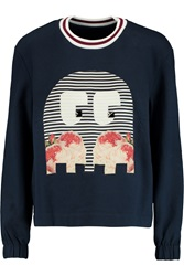 Mother Of Pearl Baley Silk Appliqued Cotton Jersey Sweatshirt Blue