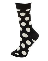 Happy Socks Big Dot Crew Black White