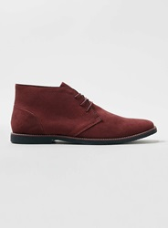Topman Burgundy Suedette Lace Up Chukka Boots Red