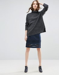 Ganni Rogers Striped Bodycon Skirt Total Eclipse Navy