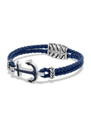 David Yurman Pave Anchor Bracelet Blue Silver