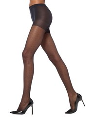 Hue Tulle Dot Sheer Pantyhose With Control Top Black