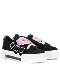 Alexander Mcqueen Embroidered Suede Slip On Sneakers Black