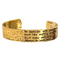 House Of Alaia The Four Agreements Reminder Cuff Antiqued Brass With Clear Nano Coating
