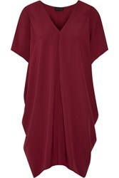 Hatch The Slouch Draped Crepe De Chine Mini Dress Burgundy