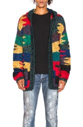 Saint Laurent Patchwork Hooded Cardigan In Abstract Red Yellow Abstract Red Yellow