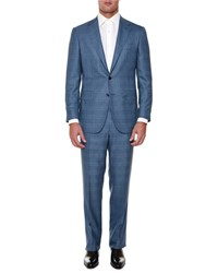 Stefano Ricci Windowpane Two Piece Wool Suit Blue Red Men's