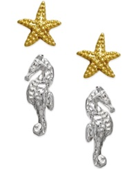 Studio Silver Starfish And Seahorse Stud Earring Set In 18K Gold Over Sterling Silver And Sterling Silver