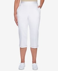 Alfred Dunner Charleston Pull On Lattice Trim Capri Pants White