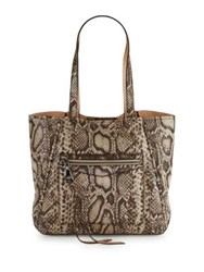 Aimee Kestenberg Delara Snake Look Leather Tote Brown