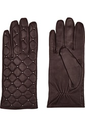 Sandro Aldora Studded Quilted Leather Gloves Red