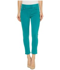 Liverpool Sienna Pull On Rolled Cuff Capris In Pigment Dyed Slub Stretch Twill In Fanfare Blue Fanfare Blue Women's Jeans