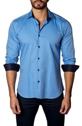 Jared Lang Trim Fit Dot Jacquard Sport Shirt Blue