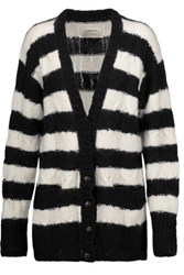 Current Elliott Striped Cable Knit Cardigan Black