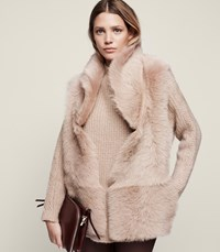 Reiss Lille Reversible Shearling Gilet In Rosewood