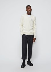 Comme Des Garcons White Heart V Neck Pullover Natural