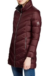 Lauren Ralph Lauren Long Quilted Packable Coat Burgundy