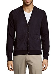Ralph Lauren Suede And Cashmere Button Down Cardigan Spring Blue