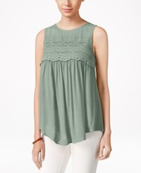 Eyeshadow Juniors' Sleeveless High Low Blouse Urban Sage