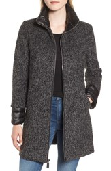 Kenneth Cole New York Layered Boucle Coat Charcoal