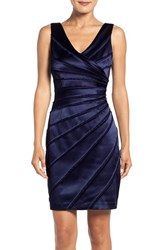 Chetta B Women's Satin Panel Sheath Dress Lapis