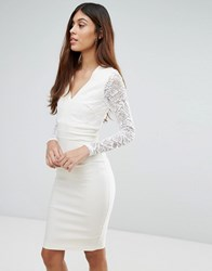 Vesper V Neck Long Sleeve Lace Pencil Dress Cream