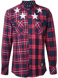 Guild Prime Stars Print Checked Shirt Red