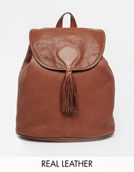 Jack Wills Leather Backpack In Tan With Tassle Detail Midbrown