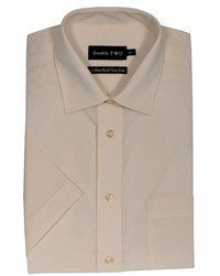 Double Two Men's Non Iron Poplin Short Sleeve Shirt Cream