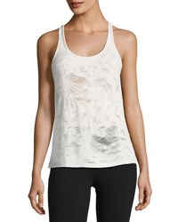 Alo Yoga Pure Distressed Racerback Athletic Tank White