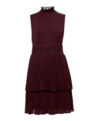 Ted Baker Bradia Pleated Ruffle Dress Brown