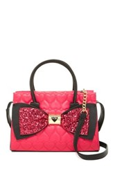 Betsey Johnson Quilted Heart Sequin Bow Shoulder Bag Pink