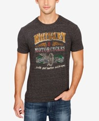 Lucky Brand Men's Motorcycles Graphic Print Cotton T Shirt Onyx