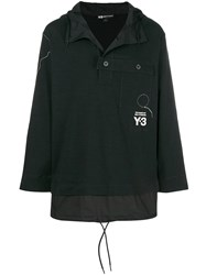 Y 3 Stand Collar Button Detail Pullover Black