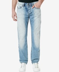 Buffalo David Bitton Men's Evan X Slim Fit Light Blue Stretch Jeans Bleached And Patched