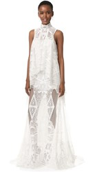Jonathan Simkhai Layered Lace Gown White