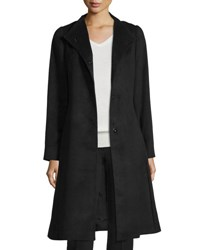 Cinzia Rocca Hidden Button Silk Coat Black