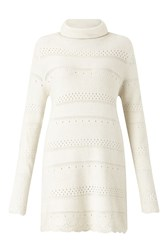 James Lakeland Crochet Knit Polo Neck Jumper White