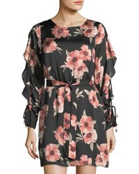 Collective Concepts Long Sleeve Floral Print Satin Dress Black Pattern
