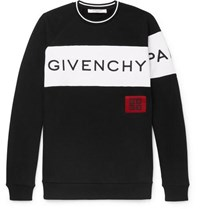 Givenchy Logo Embroidered Fleece Back Cotton Jersey Sweatshirt Black